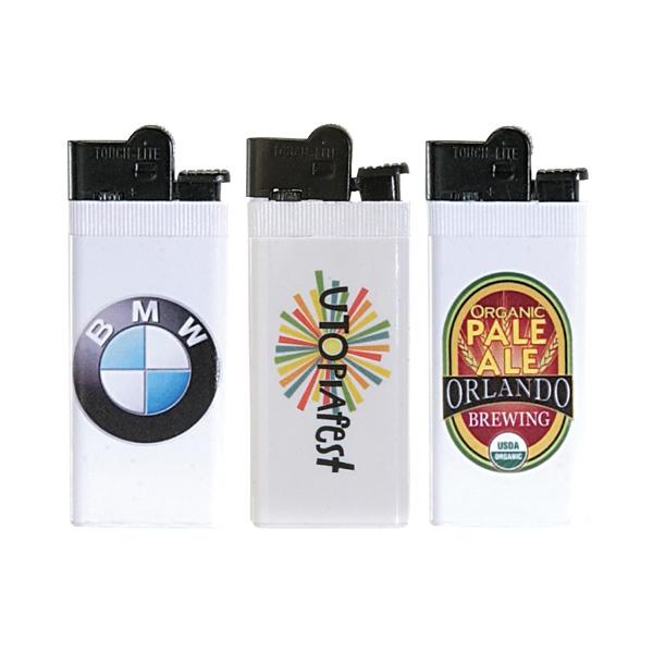"""Super Slim Lighter With 4 Color Process - Standard flint cigarette lighter; 3 1/8"""" x 1""""."""