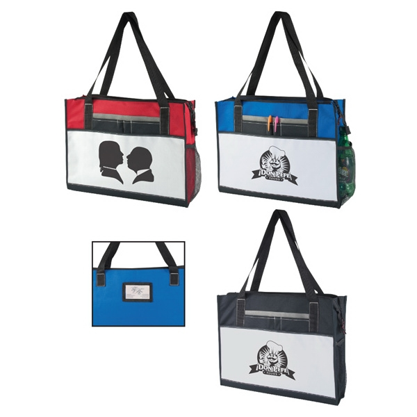 600D Polyester Tote Bag w/Zipper