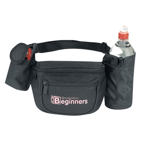 Black Fanny Pack With Bottle Holder