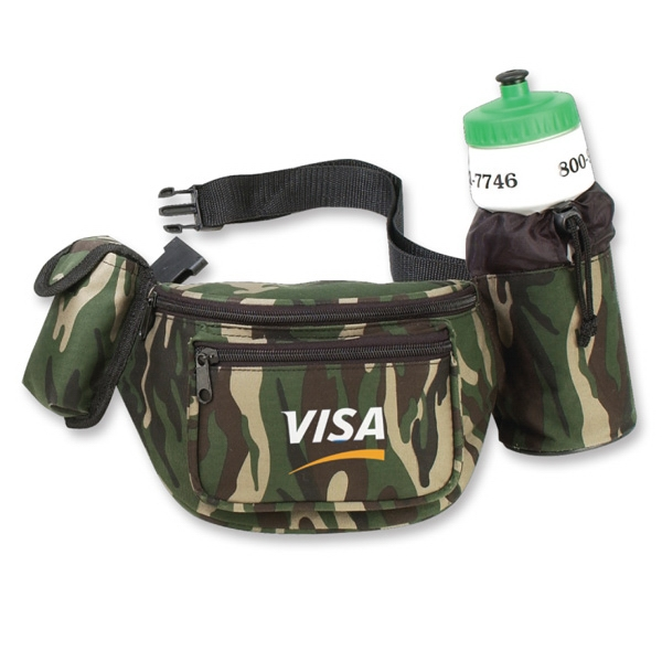 Camouflage - Fanny Pack With Bottle Holder And Cell Phone Pocket Photo