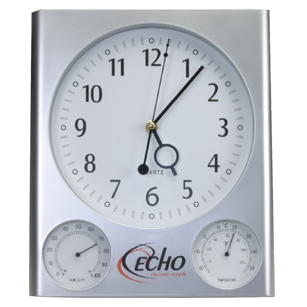 Quartz Silver Wall Clock With Extra Gauges Photo