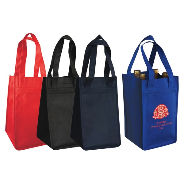 Non-Woven Polypropylene 4-Bottle Wine Tote Bag