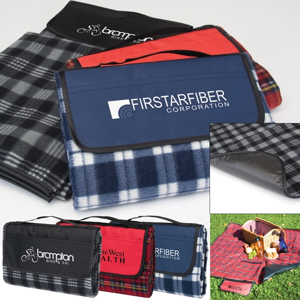 Playful Plaid Picnic Blanket Made From 100% Polyester 160 Gsm Fleece Material Photo