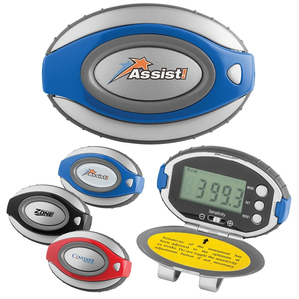 Pedometer/clock With Matte Silver Case, Bold Color Accents And Oval Shape Photo