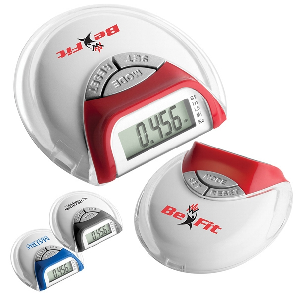 Mini Pedometer With White Case And Jewel Tone Color Accents Photo