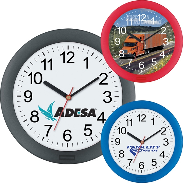 "Wall Clock Has Translucent Colored Frame And Quartz Analog Movement, 10"" Diameter Photo"