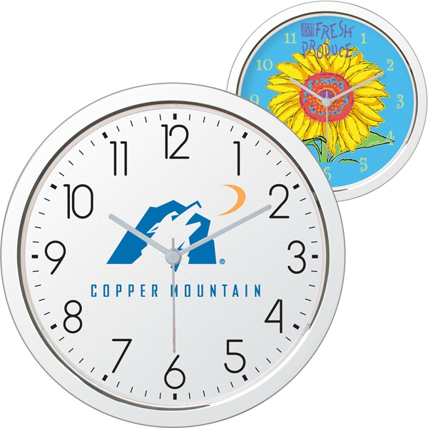 "11"" Shiny Chrome Finish Wall Clock Has Quartz Analog Movement Photo"