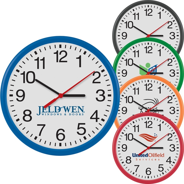 "12"" Round Wall Clock With Quartz Analog Movement Photo"