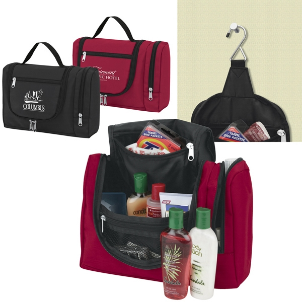 Hanging Toiletry Tote Bag Has Multiple Zippered Compartments Inside And Out Photo