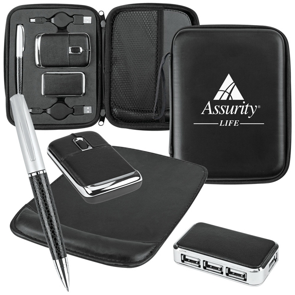 Usb Gift Set Includes Case, Retractable Cords, 3 Port Mini Hub And Mouse Pad Photo