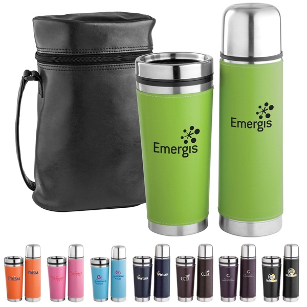 Leatherette Tumbler And Vacuum Bottle Gift Set, Includes Carry Case Photo