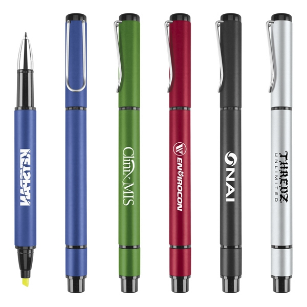 Matte Modern Metal Ballpoint/highlighter Pen With Single Wire Pocket Clip Photo