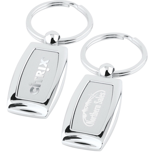 Polished Chrome Curved Key Tag, With Large Split Ring Photo