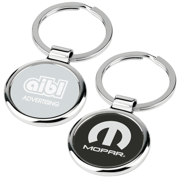 Round-about - Key Tag With Chrome Metal Body Has Center Color Plate And Split Ring Photo