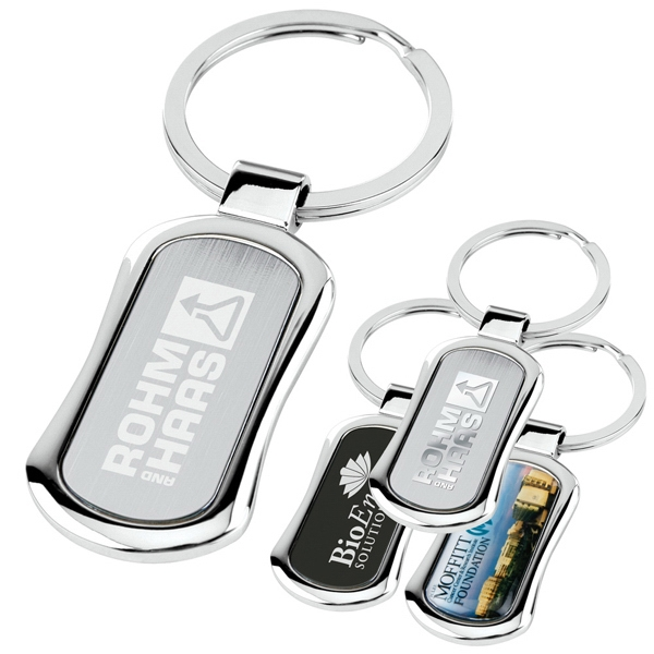 Chrome Key Tag With Panel Shape, Center Color Plate And Split Ring Photo