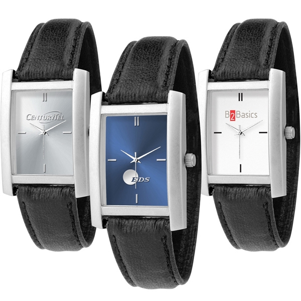 Watch With Unisex Design, Quartz Movement, Rectangle Shape And Black Band Photo