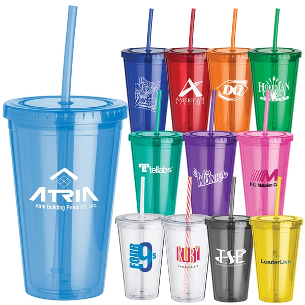 16 Oz. Everyday Plastic Cup Tumbler With Double Wall, Screw-top Lid And Straw Photo