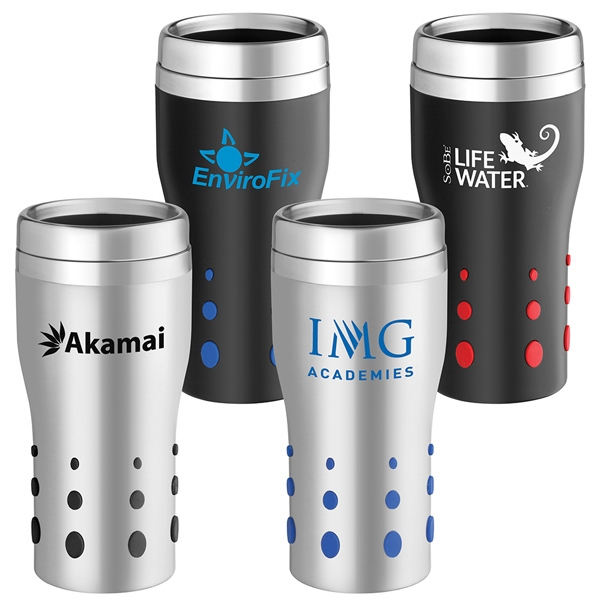 Dot Matrix - 16 Oz. Stainless Tumbler With Rubber Dots For Easy Grip And Double Wall Insulation Photo