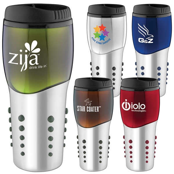 Space Ball - 16 Oz. Stainless Steel Tumbler With Colored Accents And Matching Rubber Dot Grip Photo
