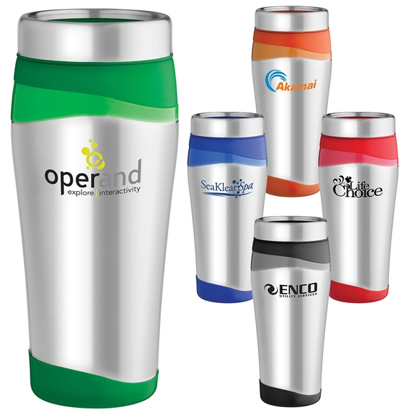 Color Touch - 16 Oz. Stainless Steel Tumbler With Color Accents And Lid With Push And Pull Opening Photo