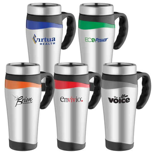 Color Touch - 16 Oz. Stainless Steel Mug With Black Accents Photo