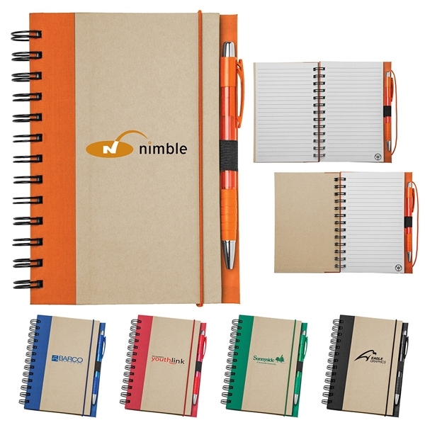 Spiral Bound Notebook With 80 Lined Sheets, Color Accents And 100% Recycled Pages Photo