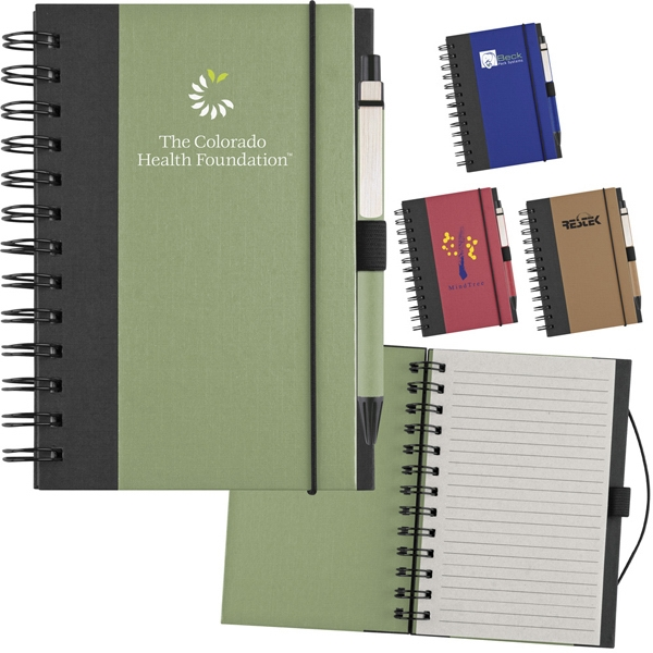Recycled Color Cover Spiral Notebook With Ballpoint Pen Photo