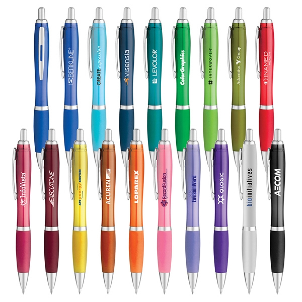 Ballpoint Pen With Translucent Barrel And Color Rubberized Comfort Grip Photo