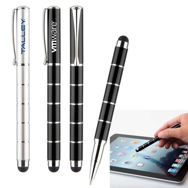 Vortex - Slim Aluminum Barrel Ballpoint Pen With Soft Rubber Stylus Tip Photo