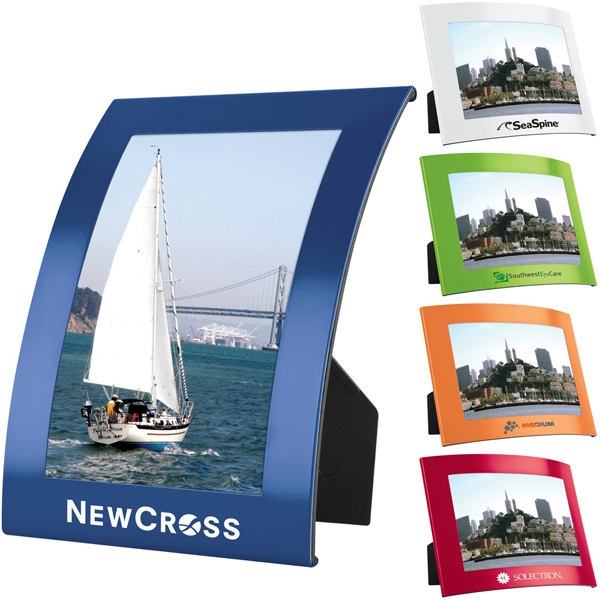 "The Curve (r) - 4"" X 6"" Curved Photo Frame With Matte Finish And Black Plastic Easel Back Photo"