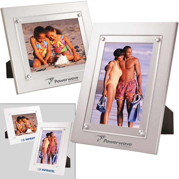 "5"" X 7"" Picture Frame Has Thick Acrylic Window That Overlaps Metal Frame Photo"