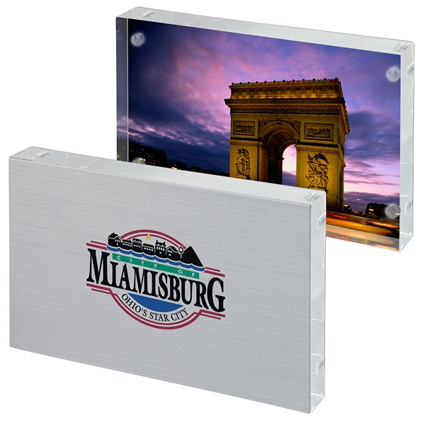 "4"" X 6"" Photo Frame Without The Frame, Stainless Steel Backing And Acrylic Display Photo"