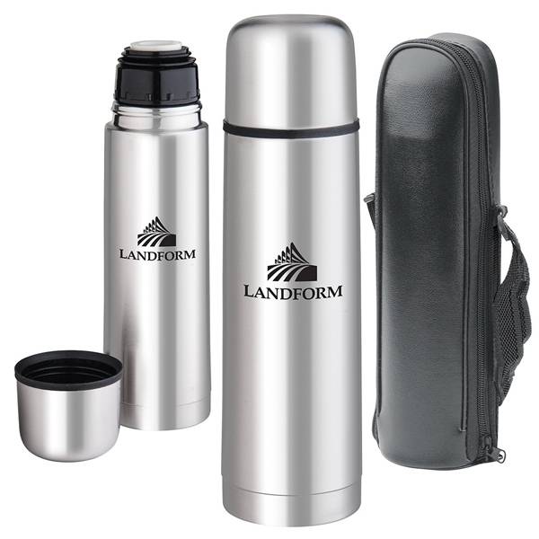 Stainless Steel Vacuum Bottle With Steel Lid And Carry Case Photo