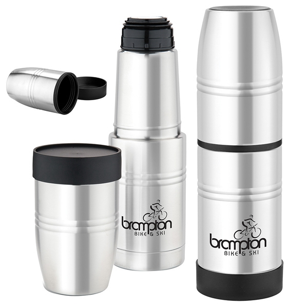 18 Oz. Stainless Steel Vacuum Bottle Has Unscrew Lid And Flip Over To Use As Tumbler Photo