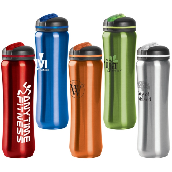 28 Oz. Stainless Steel Water Bottle With Slim Contour Design And Black Twist On Lid Photo