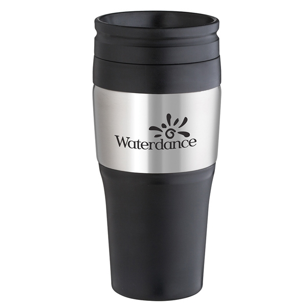 16 Oz., 2-tone, Tumbler With Plastic Lid, Black Accents And Stainless Steel Panel Photo