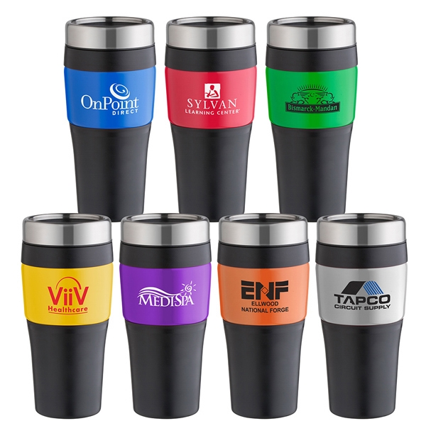 No-slip-grip - 16 Oz. Tumbler With Double Wall Insulation And Bold Color Metallic Panel Outer Wall Photo