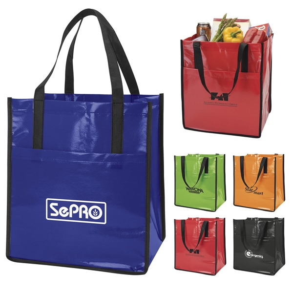 "Slick - Non-woven Laminated Shopper Tote Has Bottom Board Reinforcement And 10"" Gusset Photo"