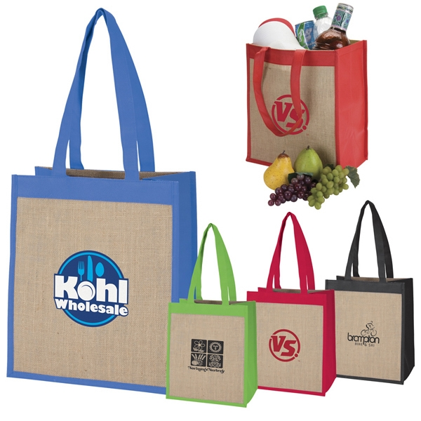 Cabana - Large Bold Colored Tote Made From Polypropylene Material With Jute Panels Photo