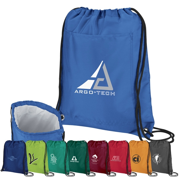 Recreation - Cooler Pack Made With Polyester With Bold Color And Black Drawstring Cord Photo