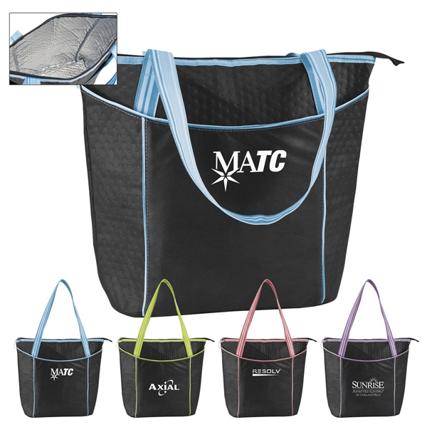 Large Black 100% Striped Non-woven Cooler Tote With Foil Lining For Insulation Photo