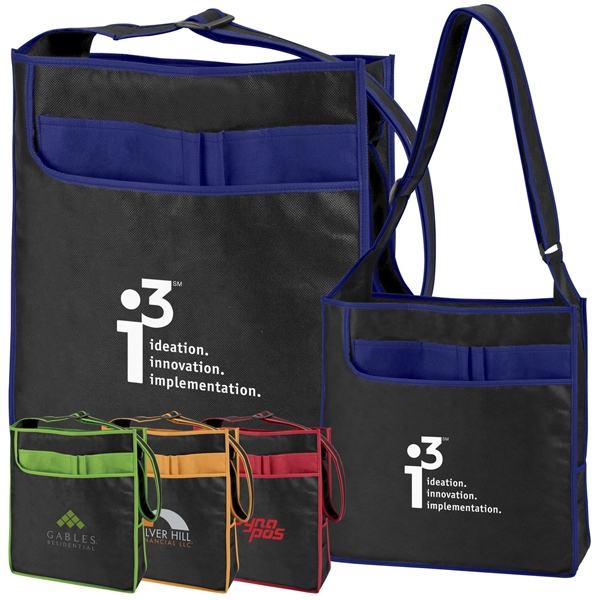 Super - Black Tote Bag With Color Accents And Matching Piping, 100% Non-woven Material Photo