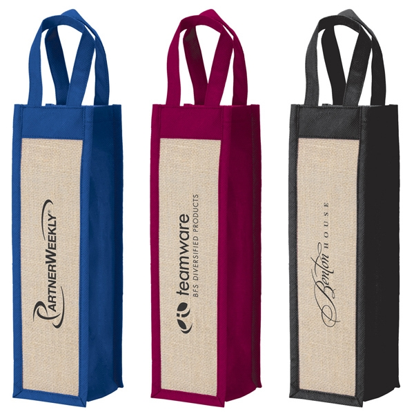 Wine Gift Tote Made From Polypropylene Non-woven Material With Laminate Jute Panels Photo