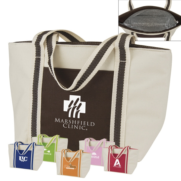 Beige Miniature Tote Lunch Bag Is Made From Polyester With Foil Lined Compartment Photo