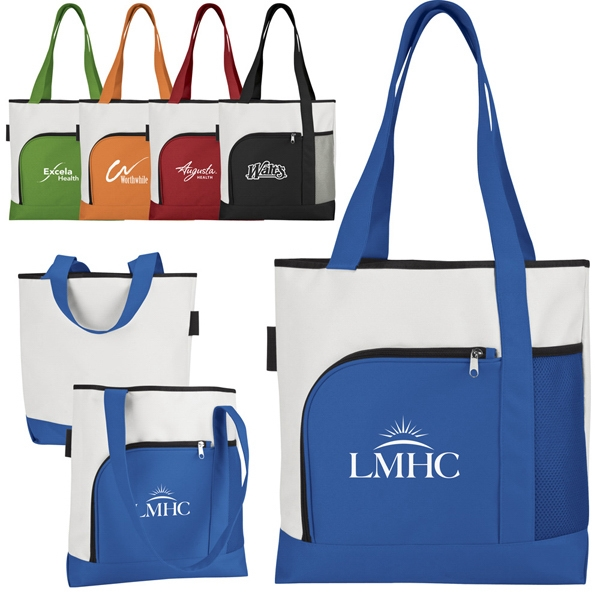 Bright White 600 Denier Polyester 2-tone Large Capacity Tote With Color Accents Photo