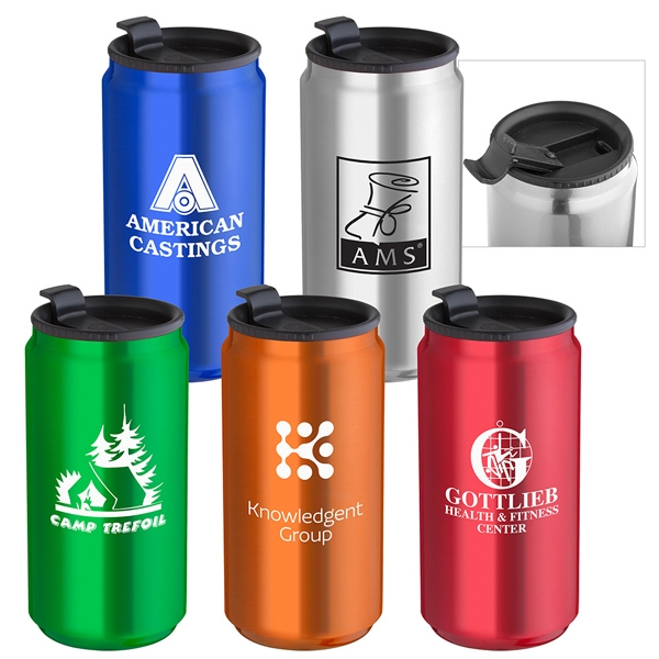 14 Oz. Soda Can Travel Tumbler Has Double Wall Insulation And Black Leak Proof Lid Photo