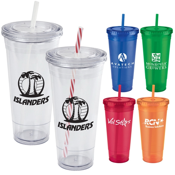 24 Oz. Jumbo Everyday Plastic Cup Tumbler With Double Wall,screw-top Lid And Straw Photo