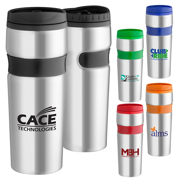16 Oz. Easy Grip Stainless Travel Tumbler Has Plastic Inner Liner Photo
