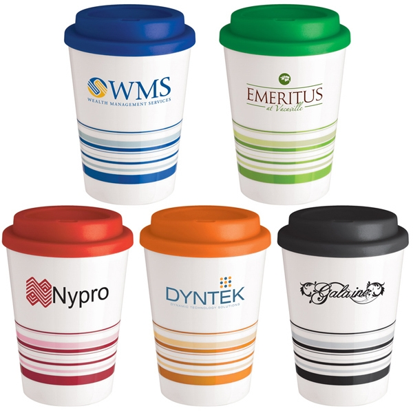 12 Oz. Double Wall Insulated Coffee Cup Tumbler With Screw Top Plastic Lid Photo