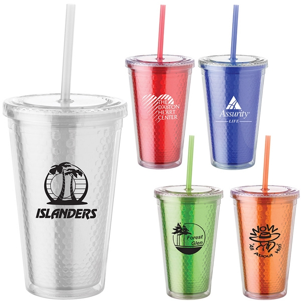 16 Oz. Honeycomb Cup Tumbler Has Clear Double Wall, Screw-top Lid And Color Lining Photo